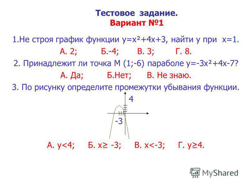 Тестовое задание. Вариант 1 1. Не строя график функции y=x²+4x+3, найти y при x=1. А. 2; Б.-4; В. 3; Г. 8. 2. Принадлежит ли точка М (1;-6) параболе y=-3x²+4x-7? А. Да; Б.Нет; В. Не знаю. 3. По рисунку определите промежутки убывания функции. 4 -3 А.