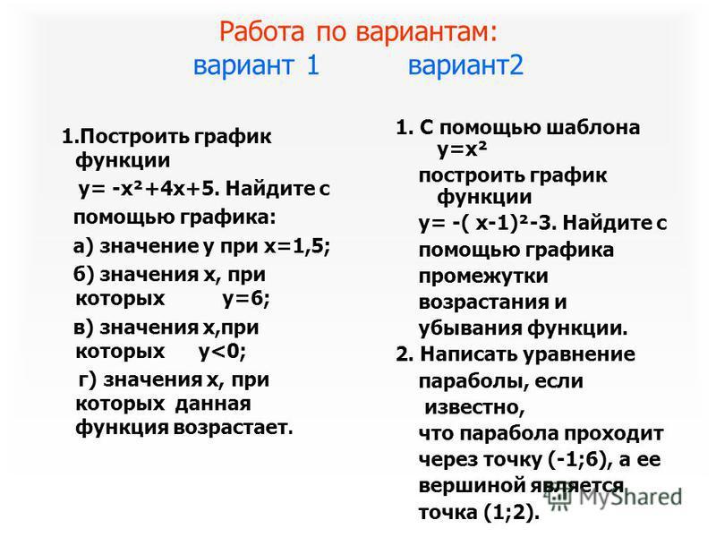 Работа по вариантам: вариант 1 вариант 2 1. Построить график функции y= -x²+4x+5. Найдите с помощью графика: а) значение y при x=1,5; б) значения x, при которых y=6; в) значения x,при которых y<0; г) значения x, при которых данная функция возрастает.