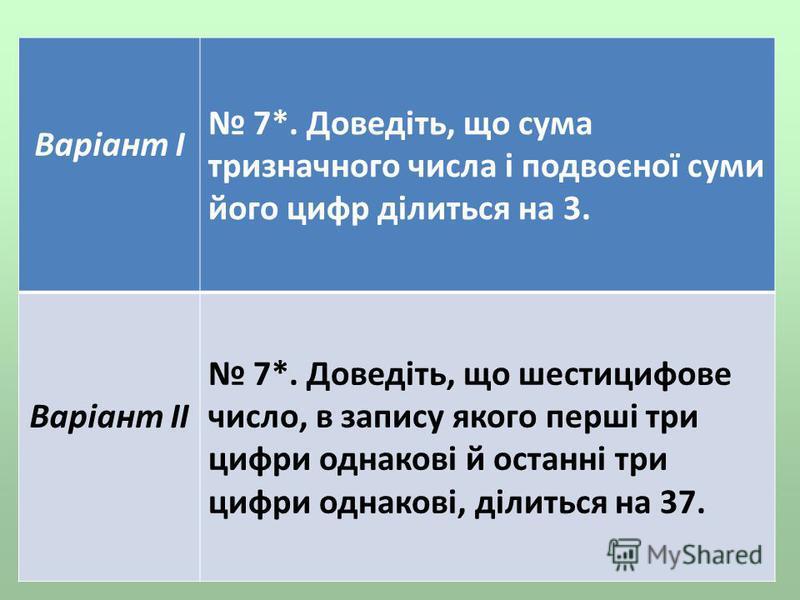 Варіант І 7*. Доведіть, що сума тризначного числа і подвоєної суми його цифр ділиться на 3. Варіант ІІ 7*. Доведіть, що шестицифове число, в запису якого перші три цифри однакові й останні три цифри однакові, ділиться на 37.