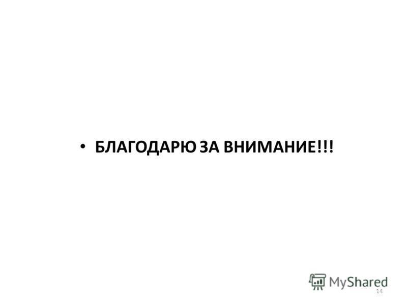 14 БЛАГОДАРЮ ЗА ВНИМАНИЕ!!!