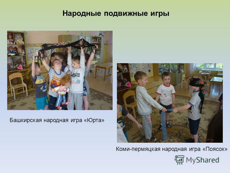 Народные подвижные игры Башкирская народная игра «Юрта» Коми-пермяцкая народная игра «Поясок»