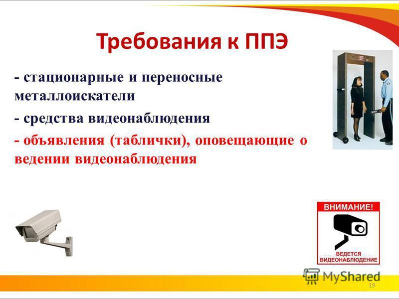 19 Требования к ППЭ - стационарные и переносные металлоискатели - средства видеонаблюдения - объявления (таблички), оповещающие о ведении видеонаблюдения