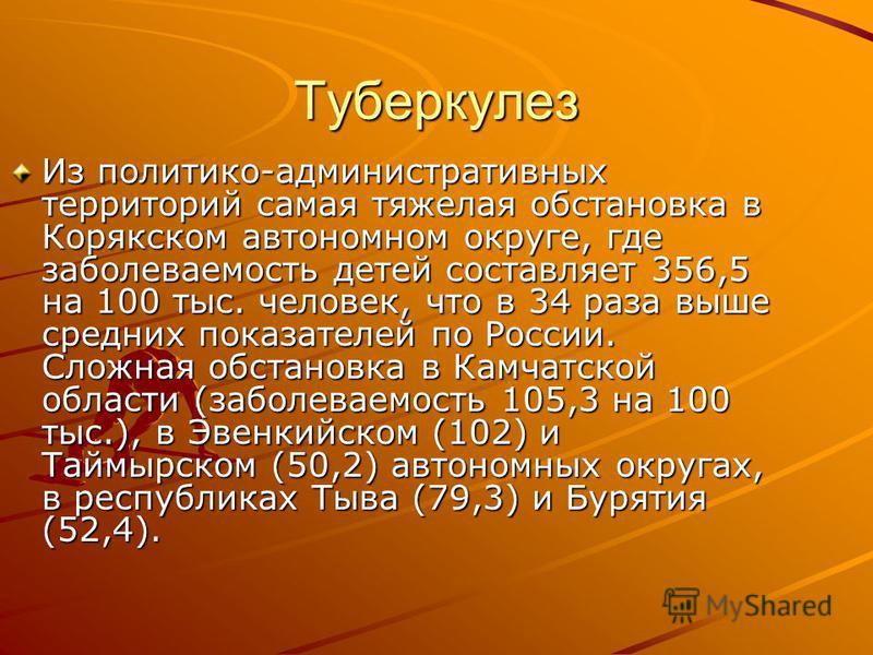 Туберкулез Из политико-административных территорий самая тяжелая обстановка в Корякском автономном округе, где заболеваемость детей составляет 356,5 на 100 тыс. человек, что в 34 раза выше средних показателей по России. Сложная обстановка в Камчатско