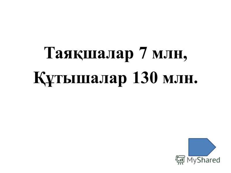 Таяқшалар 7 млн, Құтышалар 130 млн.