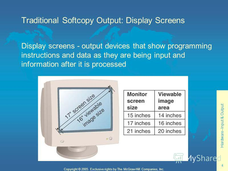Hardware--Input & Output 4 Copyright © 2005. Exclusive rights by The McGraw-Hill Companies, Inc. Traditional Softcopy Output: Display Screens Display screens - output devices that show programming instructions and data as they are being input and inf