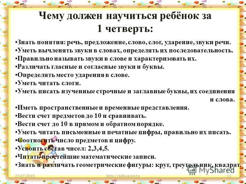 Чему должен научиться ребёнок за 1 четверть: 27.07.2015http://aida.ucoz.ru11 Знать понятия: речь, предложение, слово, слог, ударение, звуки речи. Уметь вычленять звуки в словах, определять их последовательность. Правильно называть звуки в слове и хар