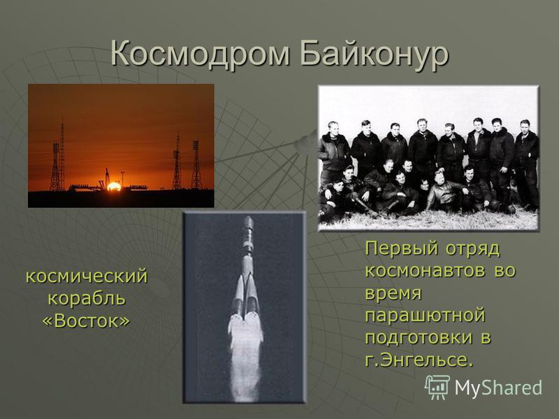Космодром Байконур Первый отряд космонавтов во время парашютной подготовки в г.Энгельсе. космический корабль «Восток»