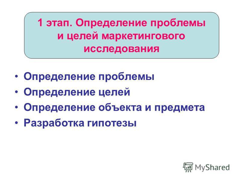 Определение проблемы Определение целей Определение объекта и предмета Разработка гипотезы 1 этап. Определение проблемы и целей маркетингового исследования
