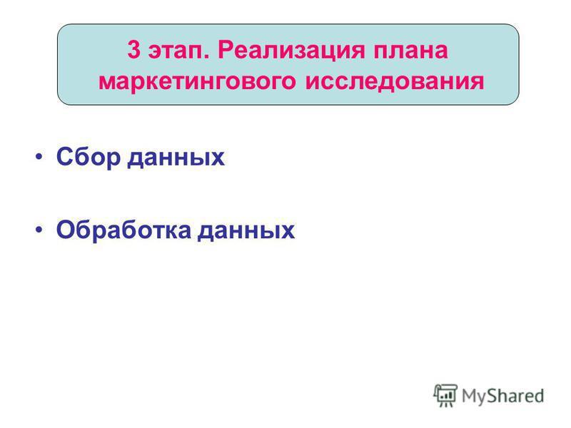 Сбор данных Обработка данных 3 этап. Реализация плана маркетингового исследования