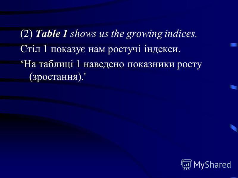 Table 1 (2) Table 1 shows us the growing indices. Стіл 1 показує нам ростучі індекси. На таблиці 1 наведено показники росту (зростання).'