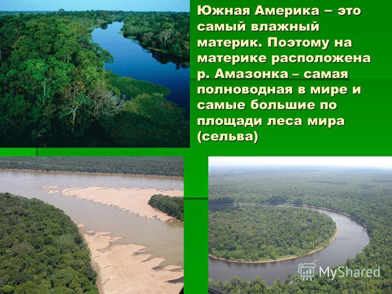 Южная Америка – это самый влажный материк. Поэтому на материке расположена р. Амазонка – самая полноводная в мире и самые большие по площади леса мира (сельва)