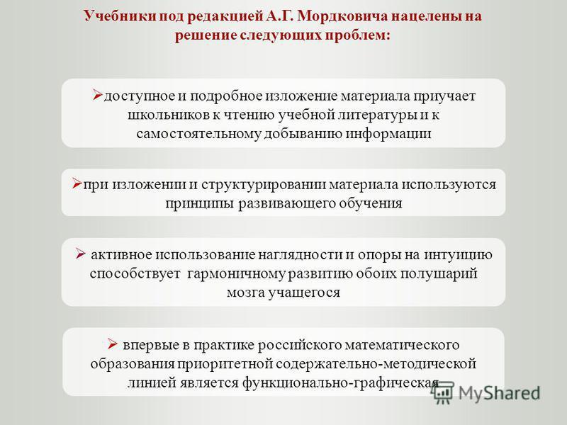 Учебники под редакцией А.Г. Мордковича нацелены на решение следующих проблем: впервые в практике российского математического образования приоритетной содержательно-методической линией является функционально-графическая доступное и подробное изложение