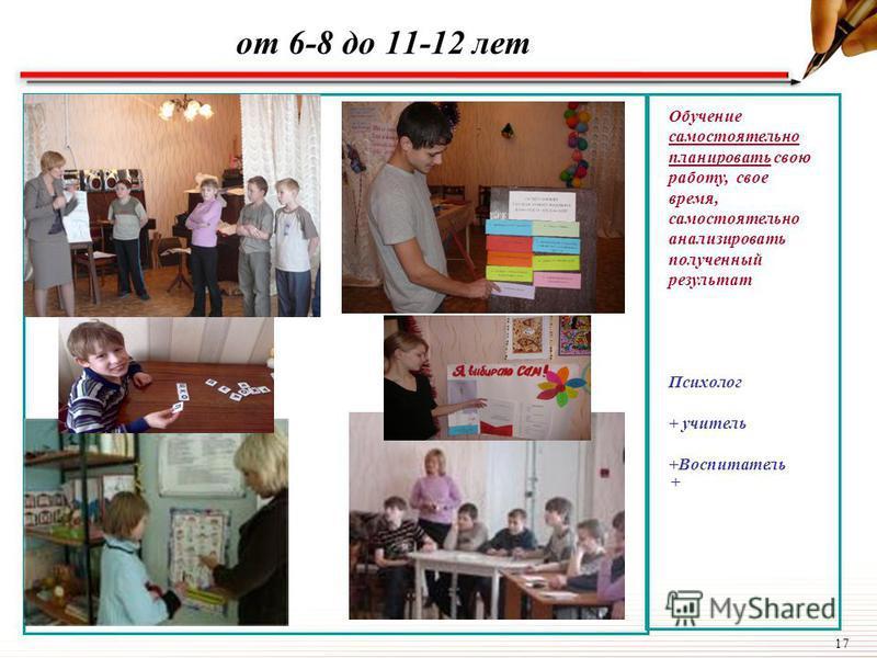 17 от 6-8 до 11-12 лет Обучение самостоятельно планировать свою работу, свое время, самостоятельно анализировать полученный результат Психолог + учитель +Воспитатель +