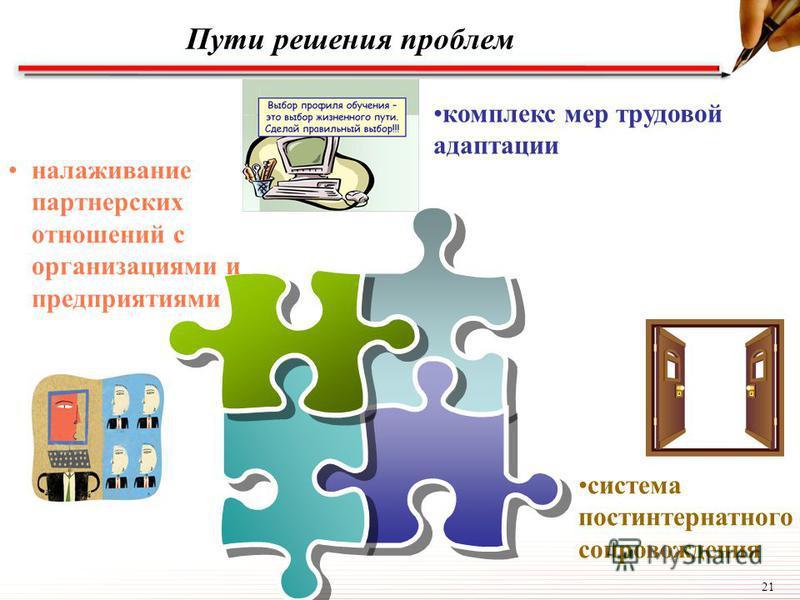 21 Пути решения проблем налаживание партнерских отношений с организациями и предприятиями система постинтернатного сопровождения комплекс мер трудовой адаптации