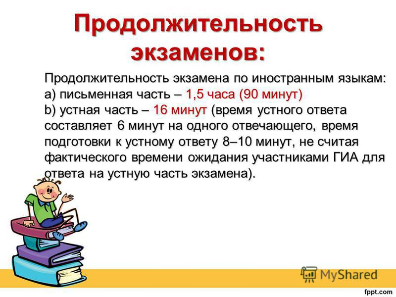 Продолжительность экзамена по иностранным языкам: a) письменная часть – 1,5 часа (90 минут) b) устная часть – 16 минут (время устного ответа составляет 6 минут на одного отвечающего, время подготовки к устному ответу 8–10 минут, не считая фактическог