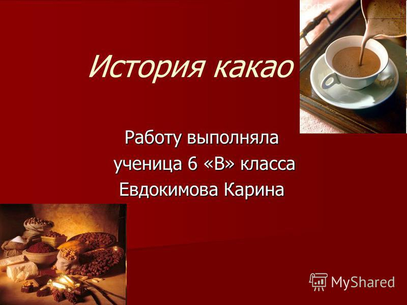 История какао Работу выполняла ученица 6 «В» класса ученица 6 «В» класса Евдокимова Карина