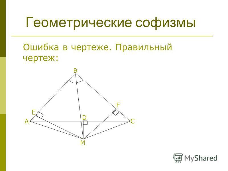 Ошибка в чертеже. Правильный чертеж: M АС D E F Геометрические софизмы В