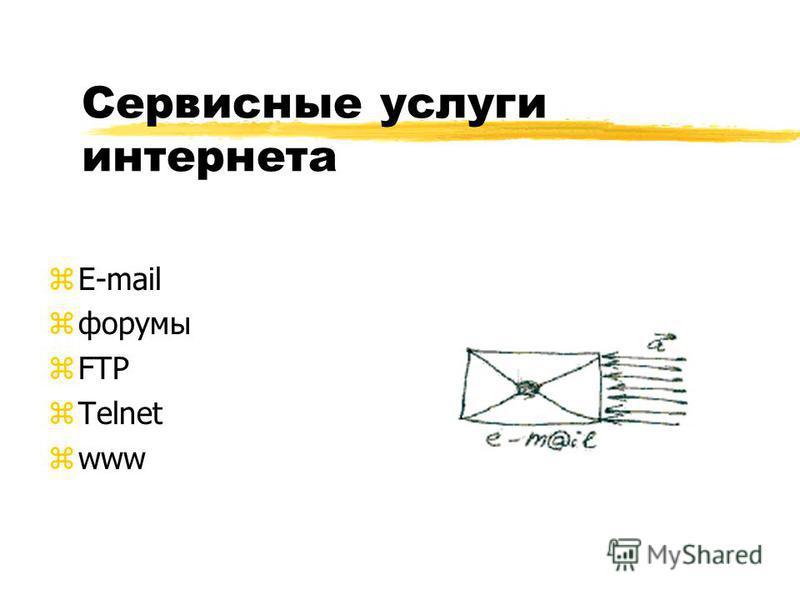Сервисные услуги интернета zE-mail zфорумы zFTP zTelnet zwww