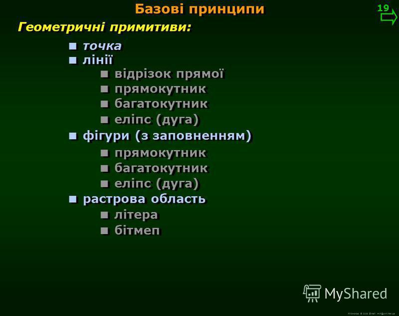 М.Кононов © 2009 E-mail: mvk@univ.kiev.ua Геометричні примитиви 18