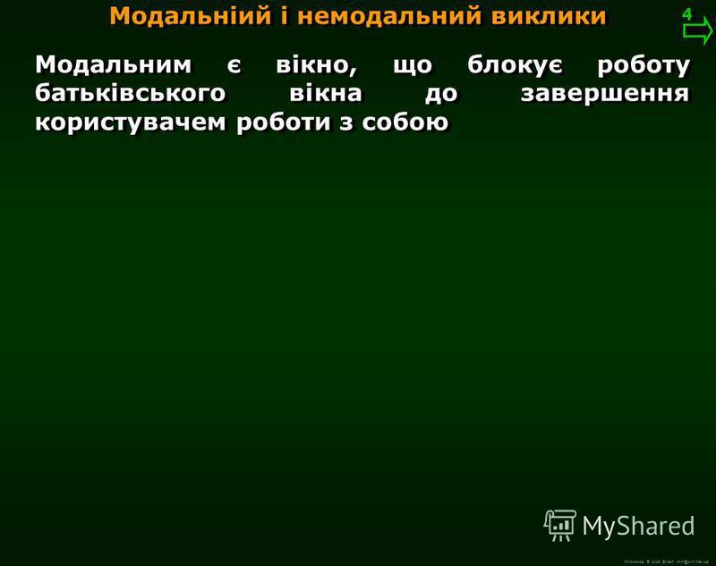 М.Кононов © 2009 E-mail: mvk@univ.kiev.ua Діалоговим є вікно призначене для виведення інформації для користувача і отримання його відповіді Модальніий і немодальний виклики 3 3 Монолог – це діалог з самим собою Поділюються на : модальні (для обміну к