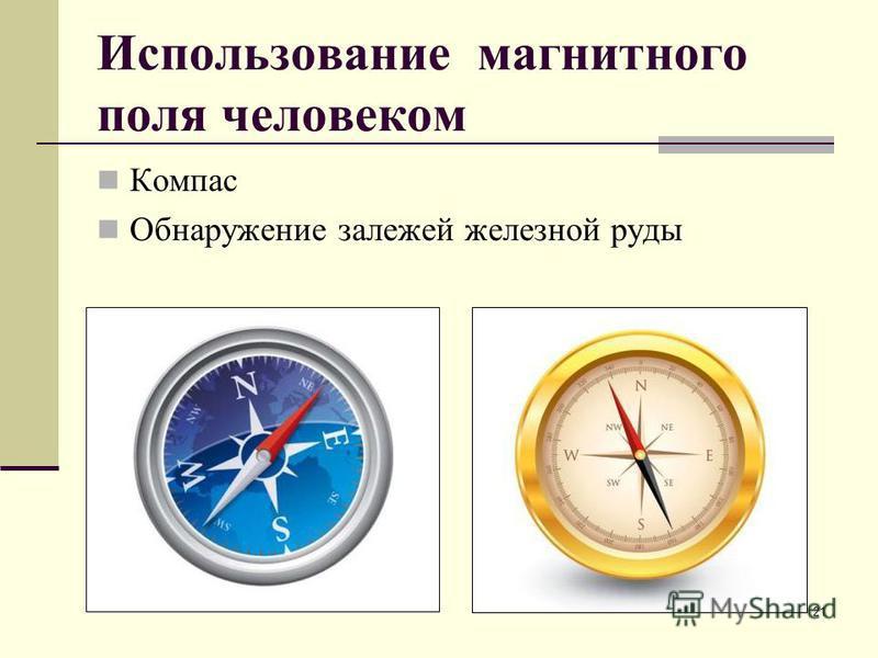 Использование магнитного поля человеком Компас Обнаружение залежей железной руды 21