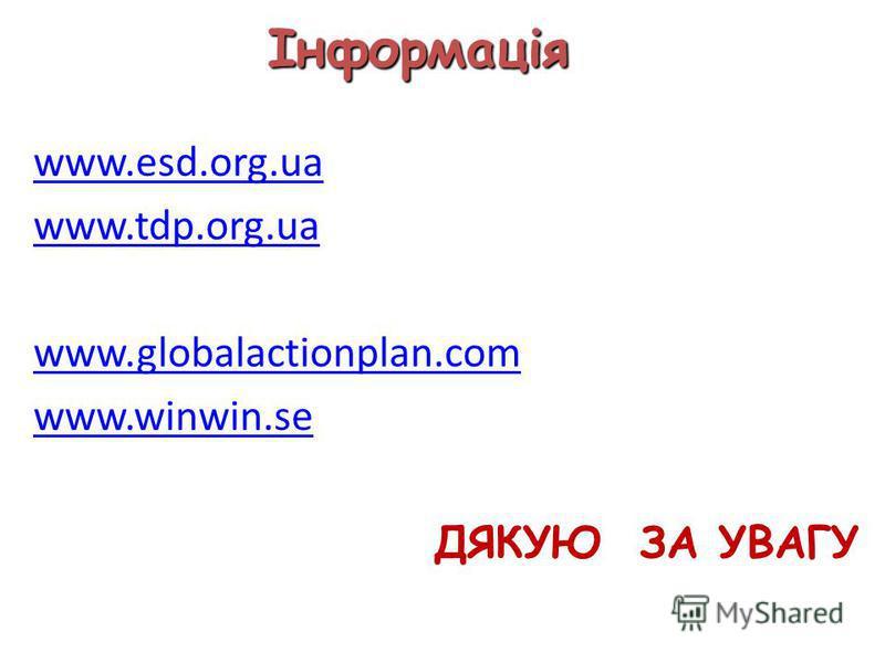Інформація www.esd.org.ua www.tdp.org.ua www.globalactionplan.com www.winwin.se ДЯКУЮ ЗА УВАГУ