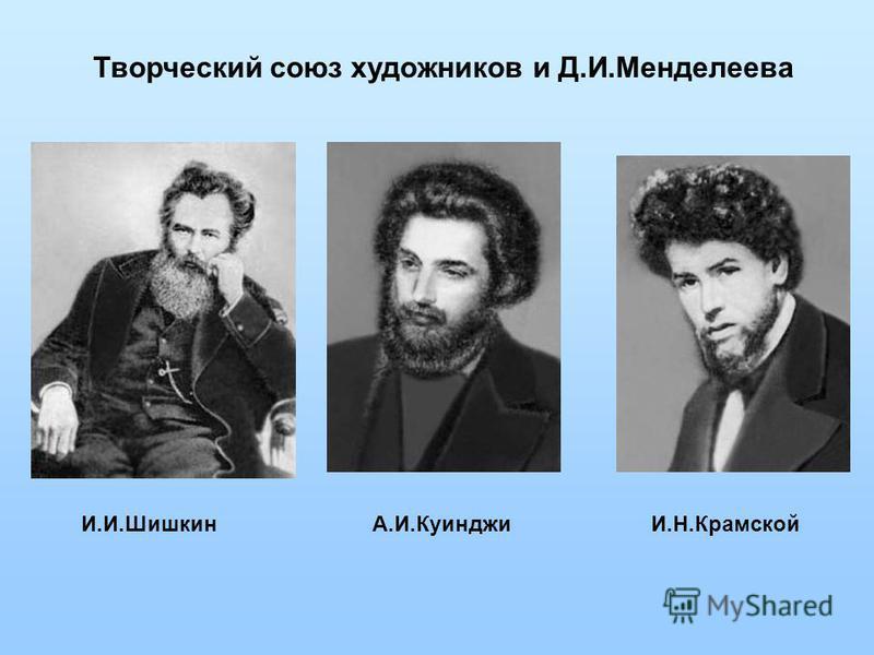 Творческий союз художников и Д.И.Менделеева И.И.ШишкинА.И.Куинджи И.Н.Крамской