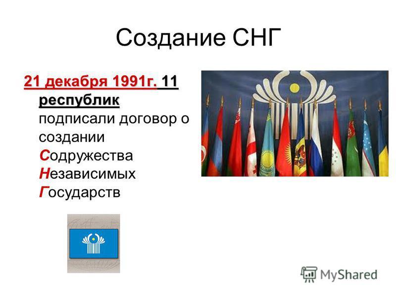 Создание СНГ 21 декабря 1991 г. 11 республик 21 декабря 1991 г. 11 республик подписали договор о создании Содружества Независимых Государств