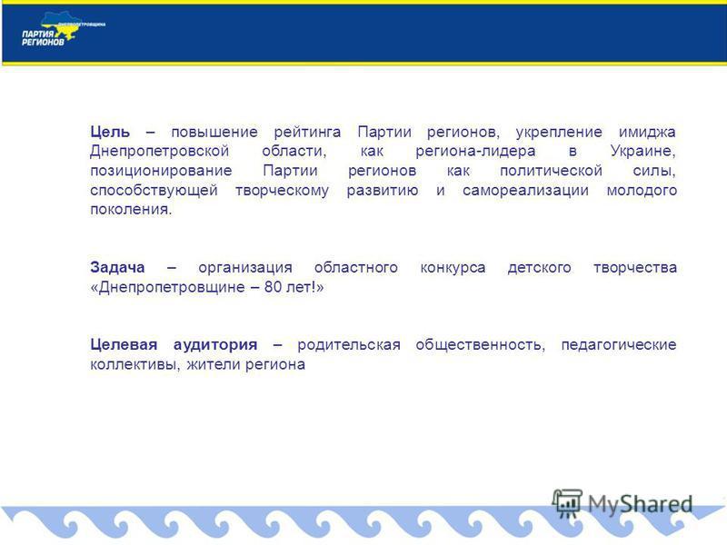 Цель – повышение рейтинга Партии регионов, укрепление имиджа Днепропетровской области, как региона-лидера в Украине, позиционирование Партии регионов как политической силы, способствующей творческому развитию и самореализации молодого поколения. Зада