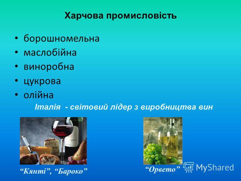 Харчова промисловість борошномельна маслобійна виноробна цукрова олійна Італія - світовий лідер з виробництва вин Кянті, Бароко Орвето