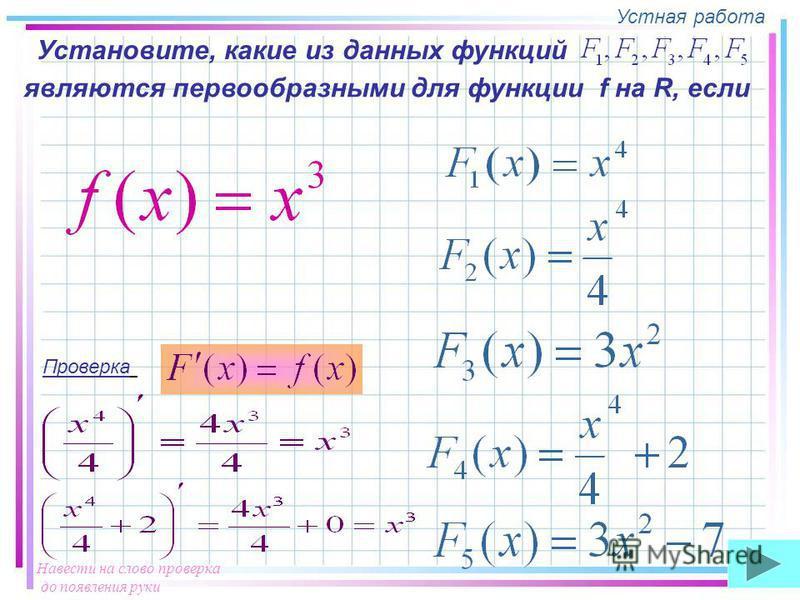 Устная работа Установите, какие из данных функций являются первообразными для функции f на R, если Проверка Навести на слово проверка до появления руки