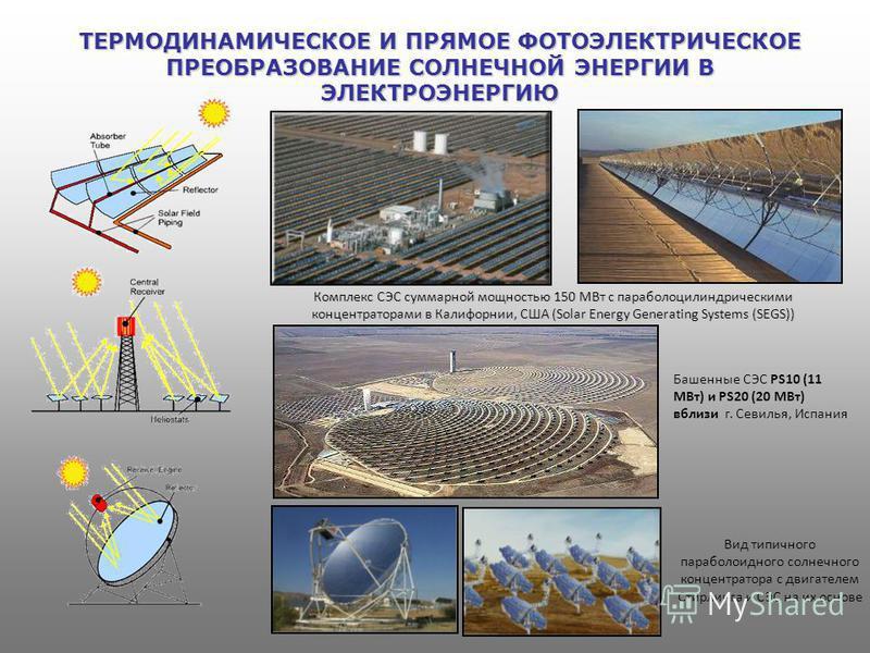 ТЕРМОДИНАМИЧЕСКОЕ И ПРЯМОЕ ФОТОЭЛЕКТРИЧЕСКОЕ ПРЕОБРАЗОВАНИЕ СОЛНЕЧНОЙ ЭНЕРГИИ В ЭЛЕКТРОЭНЕРГИЮ Башенные СЭС PS10 (11 МВт) и PS20 (20 МВт) вблизи г. Севилья, Испания Вид типичного параболоидного солнечного концентратора с двигателем Стирлинга и СЭС на