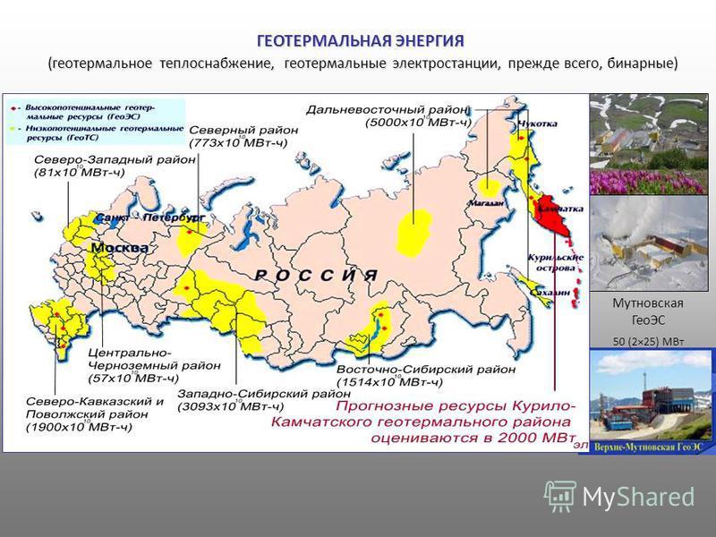 ГЕОТЕРМАЛЬНАЯ ЭНЕРГИЯ (геотермальное теплоснабжение, геотермальные электростанции, прежде всего, бинарные) (геотермальное теплоснабжение, геотермальные электростанции, прежде всего, бинарные) Мутновская ГеоЭС 50 (2×25) МВт