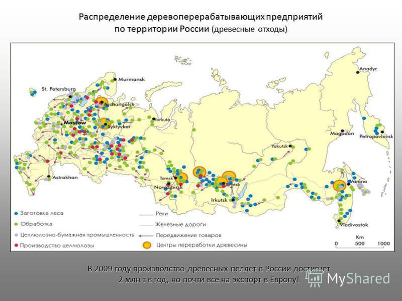 Распределение деревоперерабатывающих предприятий по территории России (древесные отходы) В 2009 году производство древесных пеллет в России достигнет 2 млн т в год, но почти все на экспорт в Европу!