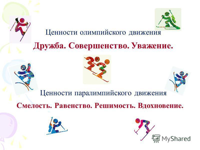 Ценности олимпийского движения Дружба. Совершенство. Уважение. Ценности параолимпийского движения Смелость. Равенство. Решимость. Вдохновение.