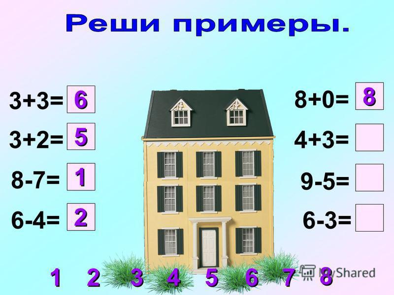 3+3= 3+2= 8-7= 6-4= 8+0= 4+3= 9-5= 6-3= 1 1 2 2 5 5 6 6 8 8 1 1 2 2 3 3 4 4 5 5 6 6 7 7 8 8
