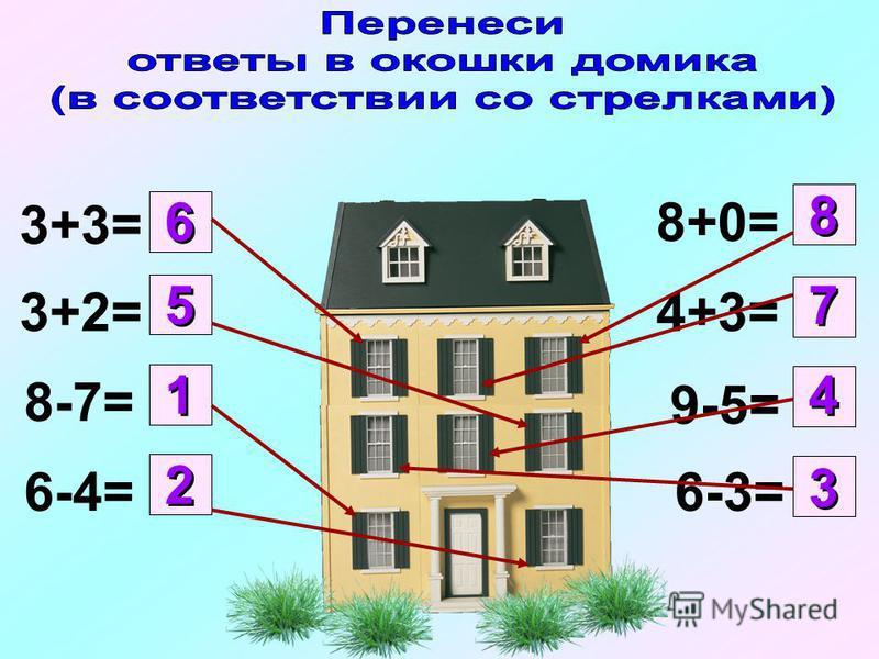 3+3= 3+2= 8-7= 6-4= 8+0= 4+3= 9-5= 6-3= 1 1 2 2 3 3 4 4 5 5 6 6 7 7 8 8