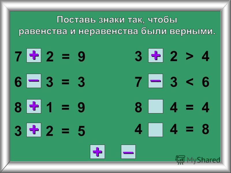 7 2 = 9 6 3 = 3 8 1 = 9 3 2 = 5 8 4 = 4 3 2 > 4 7 3 < 6 4 4 = 8 + + _ _ + + + + + + + + _ _ _ _