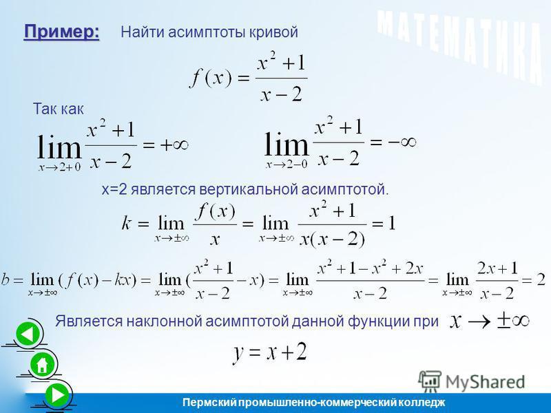 Пример: Найти асимптоты кривой Так как х=2 является вертикальной асимптотой. Является наклонной асимптотой данной функции при Пермский промышленно-коммерческий колледж