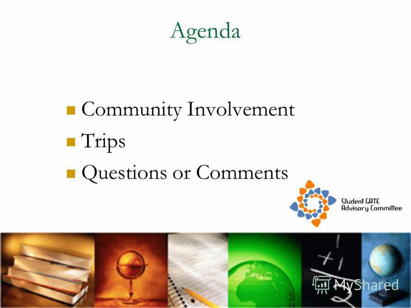 Agenda Community Involvement Trips Questions or Comments