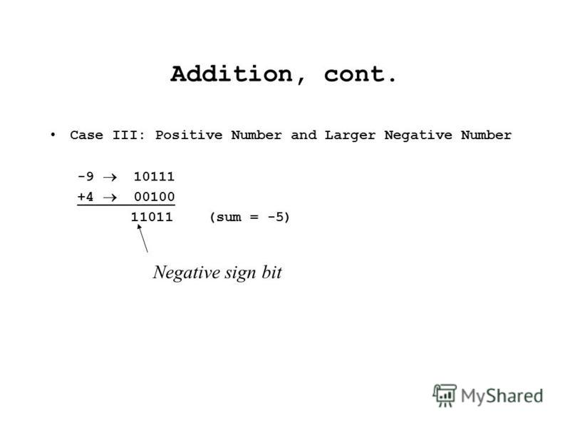 Addition, cont. Case III: Positive Number and Larger Negative Number -9 10111 +4 00100 11011 (sum = -5) Negative sign bit