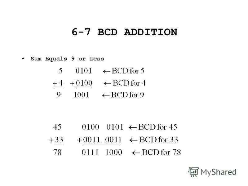 6-7 BCD ADDITION Sum Equals 9 or Less