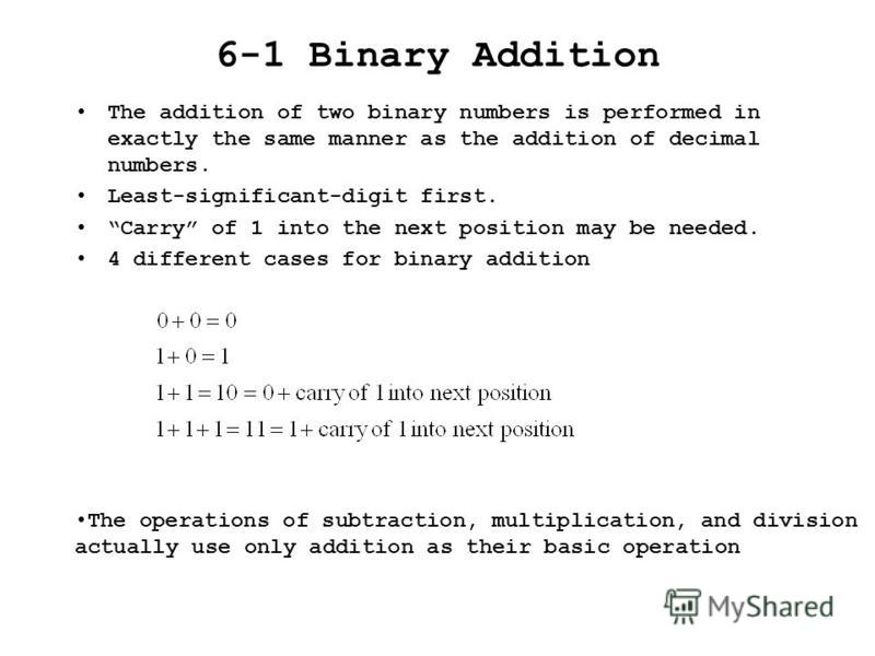 6-1 Binary Addition The addition of two binary numbers is performed in exactly the same manner as the addition of decimal numbers. Least-significant-digit first. Carry of 1 into the next position may be needed. 4 different cases for binary addition T