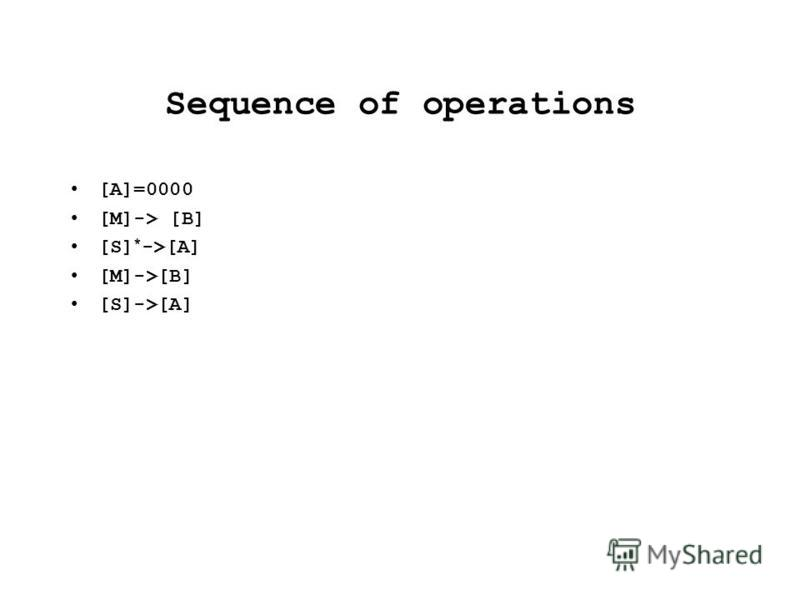 Sequence of operations [A]=0000 [M]-> [B] [S] * ->[A] [M]->[B] [S]->[A]