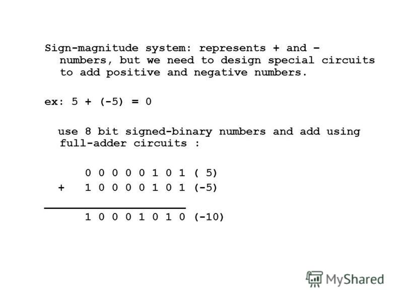 Sign-magnitude system: represents + and – numbers, but we need to design special circuits to add positive and negative numbers. ex: 5 + (-5) = 0 use 8 bit signed-binary numbers and add using full-adder circuits : 0 0 0 0 0 1 0 1 ( 5) + 1 0 0 0 0 1 0