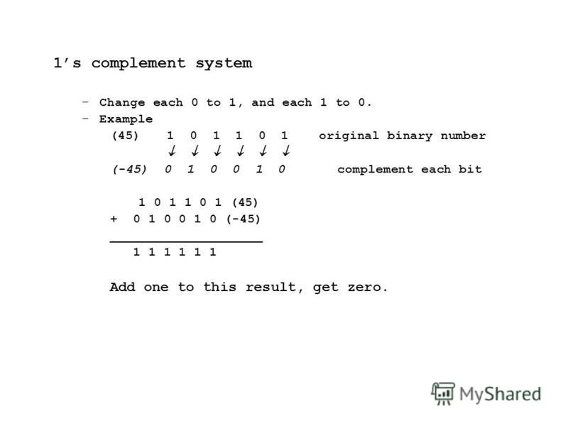 1s complement system –Change each 0 to 1, and each 1 to 0. –Example (45) 1 0 1 1 0 1 original binary number (-45) 0 1 0 0 1 0complement each bit 1 0 1 1 0 1 (45) + 0 1 0 0 1 0 (-45) ____________________ 1 1 1 1 1 1 Add one to this result, get zero.