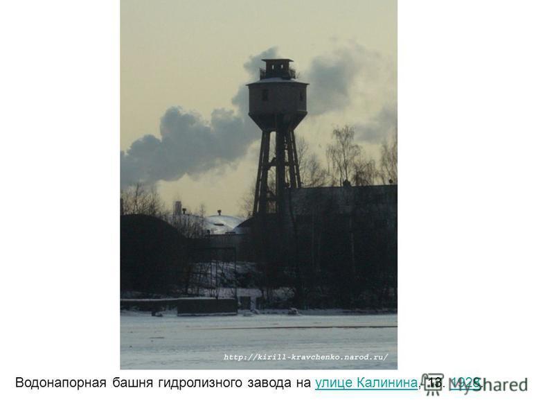 Водонапорная башня гидролизного завода на улице Калинина, 13. 1928. улице Калинина 1928