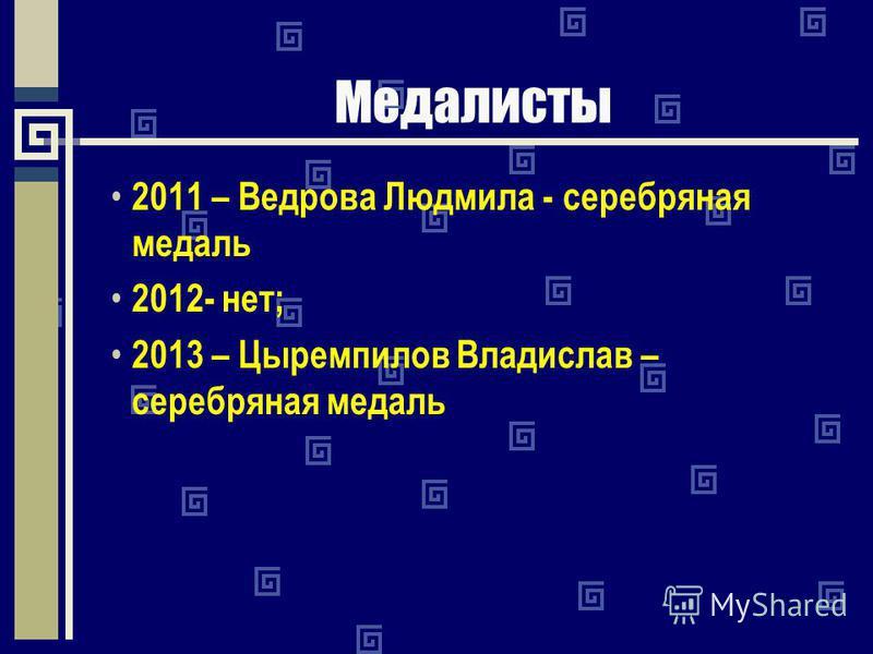 Медалисты 2011 – Ведрова Людмила - серебряная медаль 2012- нет; 2013 – Цыремпилов Владислав – серебряная медаль