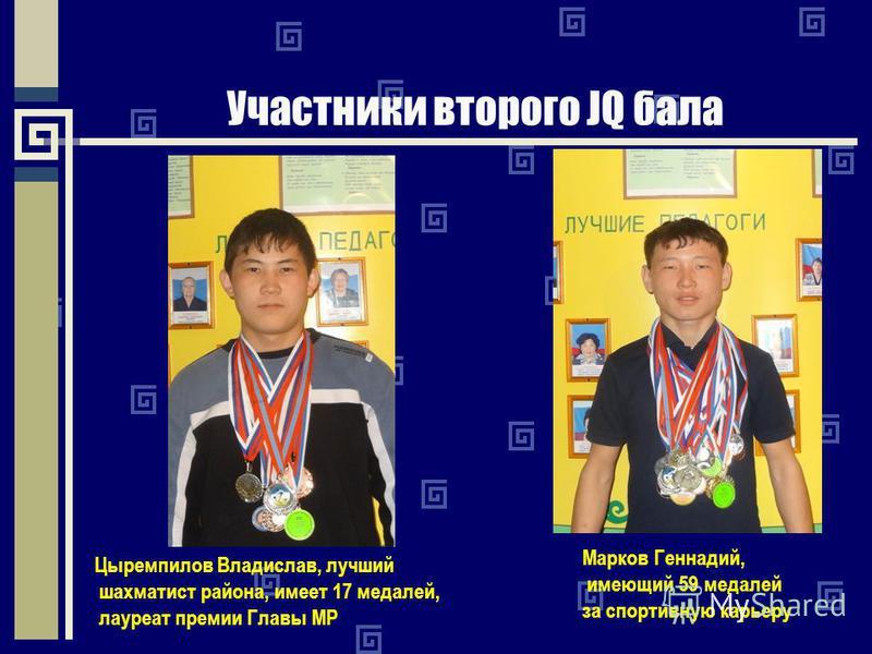 Участники второго JQ бала Цыремпилов Владислав, лучший шахматист района, имеет 17 медалей, лауреат премии Главы МР Марков Геннадий, имеющий 59 медалей за спортивную карьеру