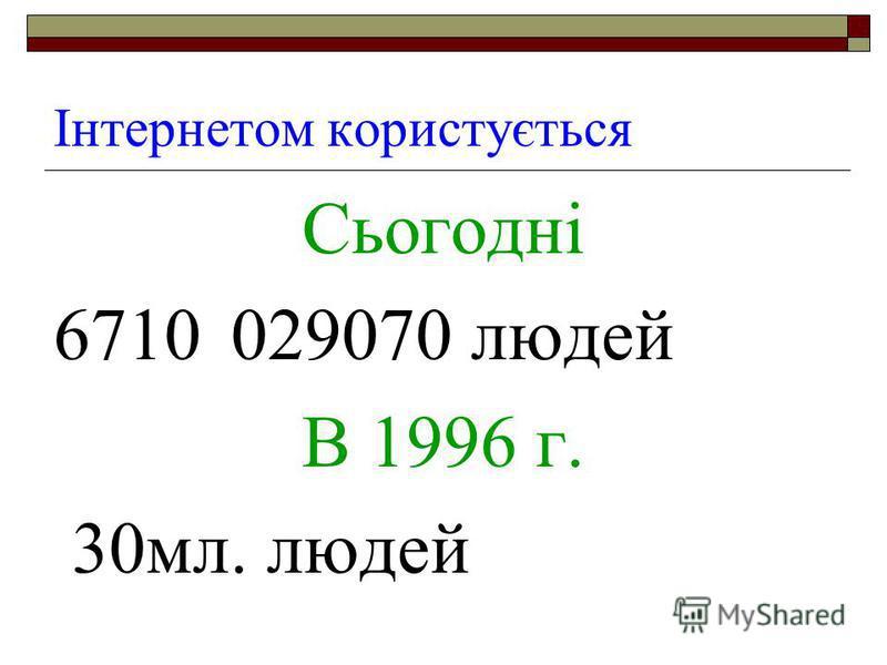 Інтернетом користується Сьогодні 6710029070 людей В 1996 г. 30мл. людей